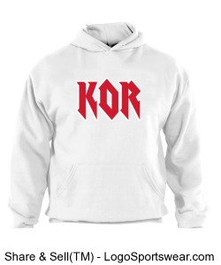 white hoodie rock n roll KOR Design Zoom